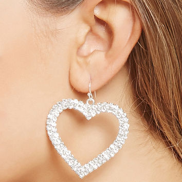 Drop Rhinestone Heart Earrings