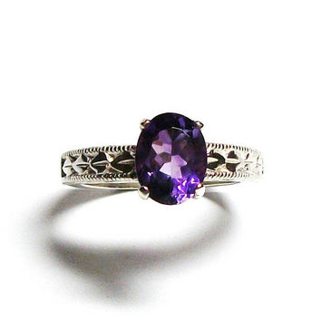 "Amethyst, amethyst ring, birthstone ring, solitaire ring, purple ring, purple, s 7 ""Purple Persuasion"""