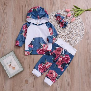 MUQGEW Fashion Newborn baby clothing set Baby Boy Girl Floral Tops Hoodie Pants Outfits 3Pcs newborn clothes roupas menina