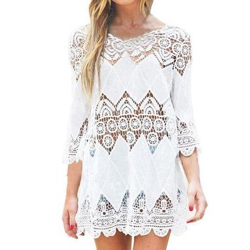 PEAPGC3 New Summer Swimsuit Lace Hollow Crochet Beach Bikini Cover Up 3/4 Sleeve Women Tops Swimwear Beach Dress White Beach Tunic Shirt