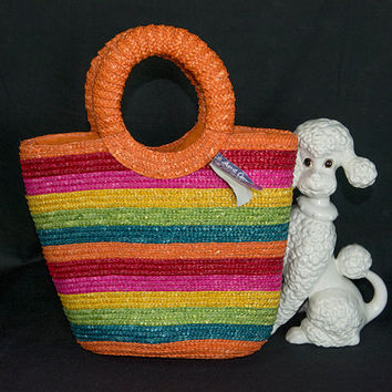 Vintage Straw Tote Bag Rainbow Stripe O Shaped Top Handle