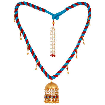 Indian Traditional Turquoise Coral and White Pearl 18K Gold Plated Necklace