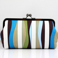 Colorful Strips 8 inch Large Gunmetal Frame Clutch by FA2u
