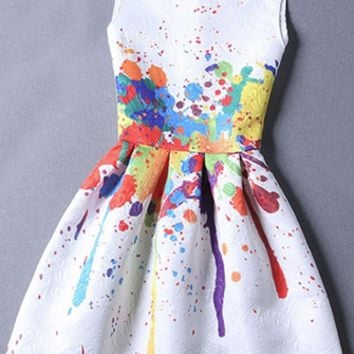 Art Installation White Red Purple Blue Yellow Green Graffiti Paint Splatter Sleeveless Scoop Neck Jacquard Pleated A Line Mini Dress