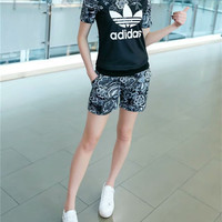 """Adidas"" Fashion Casual Flower Clover Letter Print Short Sleeve Set Two-Piece Sportswear"