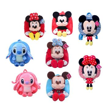 Disney Mickey Minnie Plush Toys Stitch Angie Knapsack Bag Backpack Satchel 27CM Stuffed Doll Birthday Gift for Girl Children