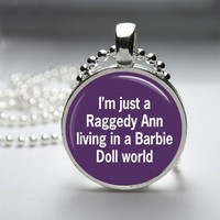 Funny Raggedy Ann Glass Tile Round Bezel Pendant Necklace