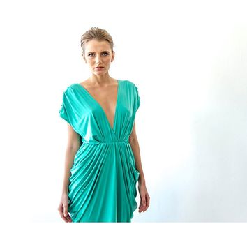 Kelly green open back maxi bridesmaid dress SALE 1008