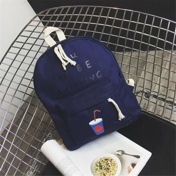 """""""You Can Be Anything"""" Cute Canvas Dark Blue Backpack"""