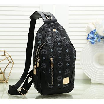 MCM Newest Women Leather Backpack Bookbag Daypack Satchel Black
