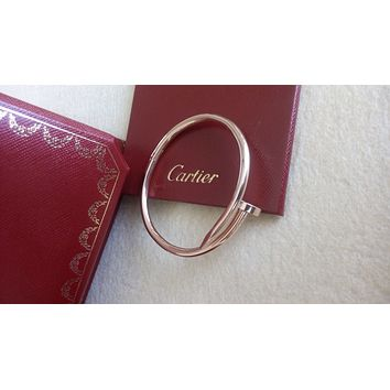"Cartier Juste un Clou ""Nail"" Bangle 18k Rose Gold Bracelet Size 16"