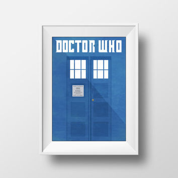 Doctor Who Poster, Movie Poster, Blue, Minimalist Print, TARDIS