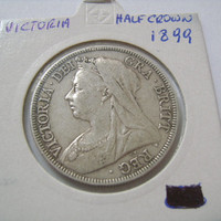 "1899 Old Great Britain Half Crown with Queen Victoria  and Coat of Arms UK British Sterling Silver Antique Coin ""Veil or Widow Head"""