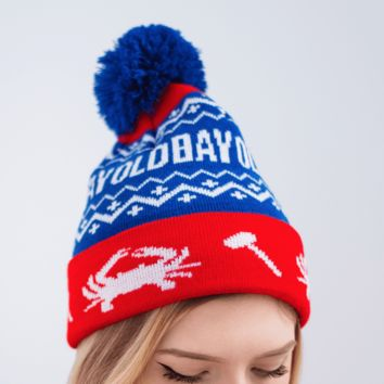 Old Bay, Crab & Mallet (Red w/ Blue Pom) / Knit Beanie Cap