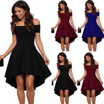 USA Womens Summer Casual Off-Shoulder Party Evening Cocktail Swing Short Dress