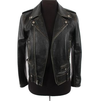 Saint Laurent Black Leather Moto Jacket
