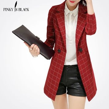Pinky Is BlackFemale blazer 2017 spring and autumn new blazer women jacket slim medium-long plaid long-sleeve casual suit blazer