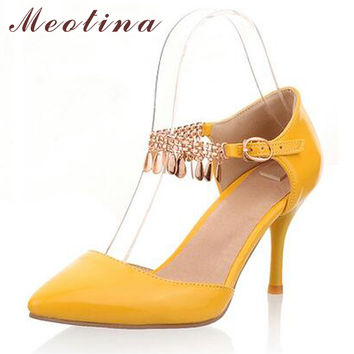 Meotina Shoes Women Sexy High Heels Wedding Shoes Pointed Toe Pumps Two Piece Heels Bling Tassel Ladies Shoes White Size 11 12