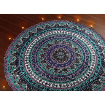 Indian Mandala Roundie, Bohemian Beach Throw Tapestry, Hippie Boho Gypsy Round Table Cloth Cover, Zodiac Meditation Yoga Mat, As