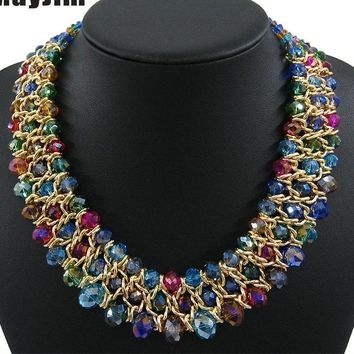 Vintage choker collar gold chain chunky beaded crystal necklace
