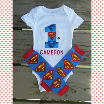 First Birthday Boy Superman Onesuit - Personalized - Super man - Cake Smash Outfit - Batman - Spiderman - Comics