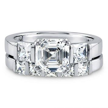 A Perfect 2CT Asscher Cut Russian Lab Diamond Bridal Set