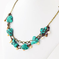 Boho Turquoise Howlite Nugget Fresh Water Pearl Necklace Antiqued Brass Pale Yellow Brown Cotton Fiber Women Necklace Bohemian Necklace Gold