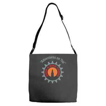 beer and bike tours Adjustable Strap Totes
