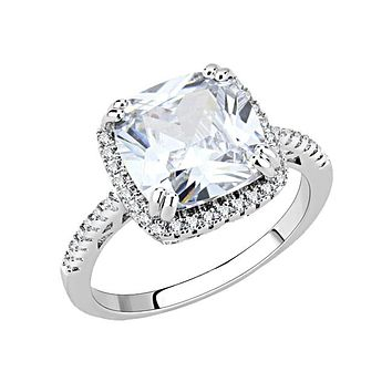 Timeless Love - Women's Rhodium Plated Brass CZ Stone Ring