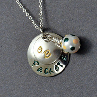 Green Bay Packers inspired Hand Stamped Necklace - Football fan jewelry - Wisconsin Jewelry