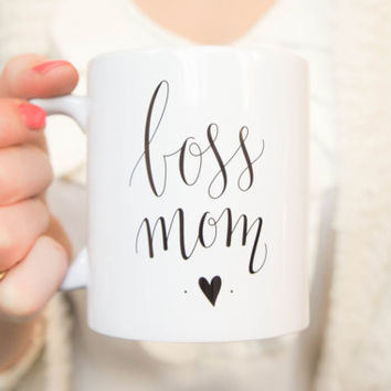 Boss Mom Coffee / Tea Mug. Cup with unique handlettered design great for entrepreneurs or hustler mompreneurs. Small business shop owner mug