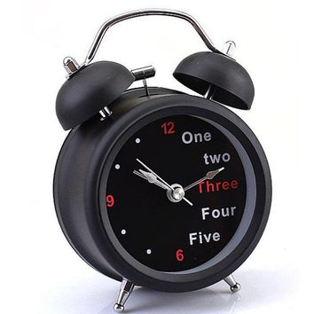 Classic Number Retro Double Bell Desk Table Alarm Clock