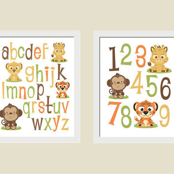 Zoo JUNGLE Animals ALPHABET, Numbers, Nursery, Playroom, Kid's Room Wall Art Prints, Set of 2