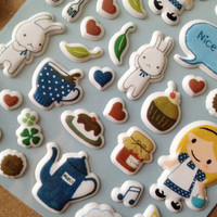 love cooking blonde hair little girl sticker little chef puffy sticker my pet white rabbit tea party gift seal label clipart diary scrapbook