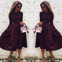 Women Sexy Vintage Long Sleeve Boho Plaid Cocktail Evening Party Long Maxi Dress