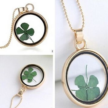 Real Four Leaf Clover Lucky Charm Necklace