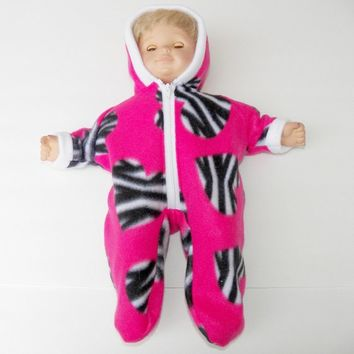BITTY BABY GIRL Clothes,Bitty Baby Girl cute Pink zebra print Snowsuit with black and white doll clothes