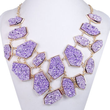 Natural Purple Irregular Druzy Stone Layers Statement Necklace, Bubble Bib Necklace, Golden Chain-153424633