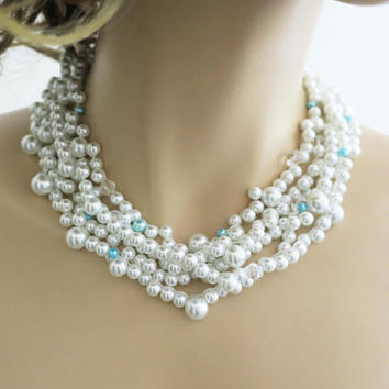 White and Blue Pearl Necklace Bridal Pearl Necklace Wedding Necklace Bridal Jewelry Statement Chunky Pearl Necklac Wedding Necklac jewellery