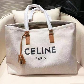 Celine New Simple Casual Large Capacity Tote Canvas Shopping Bag
