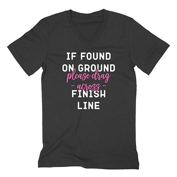 Marathon, burnout, workout, If found on ground please drag across finish line  V Neck T Shirt
