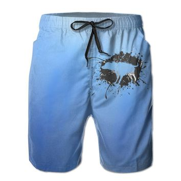 Wet Shaking Dog Mens Fashion Casual Beach Shorts