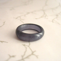 Blue Black Resin Ring Jewelry ,  Indigo Resin Stacking Ring , Size 8 Frosted Band Australia Matte Ring