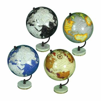 Assortment Of 4 Striking Globe On Stand, Multicolor By Benzara