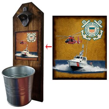 Coast Guard Bottle Opener and Cap Catcher, Wall Mounted