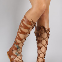 Strappy Lace Up Gladiator Flat Sandal