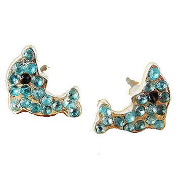 Basket Hill. Dolphin with Blue Crystals Post Earrings