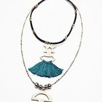 Free People Womens Threaded Tassel Short Necklace