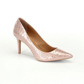 Calvin Klein Gayle Snake Pointed-Toe Pumps - Rose Gold