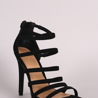 Anne Michelle Nubuck Strappy Ladder Up Stiletto Heel